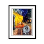 Cafe / Keeshond (F) Framed Panel Print