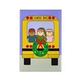School Bus Christmas Rectangle Magnet (100 pack)