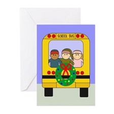 School Bus Christmas Greeting Cards (Pk of 20)