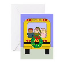 School Bus Christmas Greeting Cards (Pk of 10)