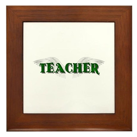 Angel Wings Teacher Framed Tile