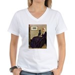 Whistler's / Min Pin Women's V-Neck T-Shirt