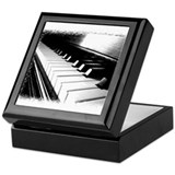 Down The Piano Keys (B&W) Keepsake Box