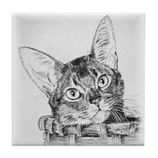Abyssinian Pen and Ink Tile Coaster