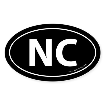 North Carolina NC Auto Sticker -Black (Oval)