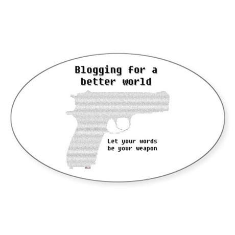Blogging for a better world Oval Sticker
