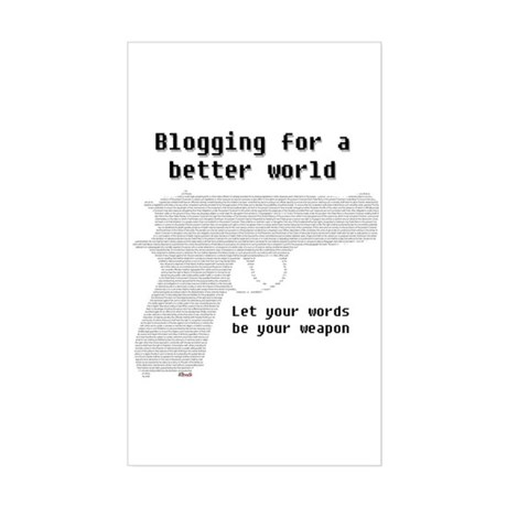 Blogging for a better world Rectangle Sticker