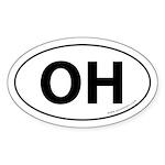 Ohio OH Auto Sticker -White (Oval)