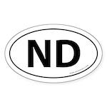 North Dakota ND Auto Sticker -White (Oval)