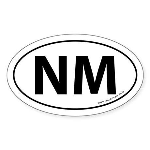 New Mexico NM Auto Sticker -White (Oval)