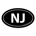 New Jersey NJ Auto Sticker -Black (Oval)
