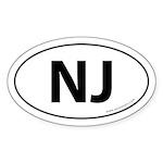 New Jersey NJ Auto Sticker -White (Oval)