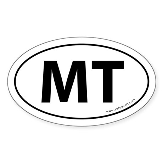 Montana MT Auto Sticker -White (Oval)