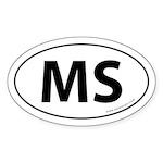 Mississippi MS Auto Sticker -White (Oval)