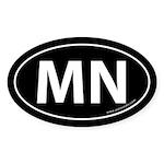 Minnesota MN Auto Sticker -Black (Oval)