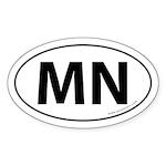 Minnesota MN Auto Sticker -White (Oval)