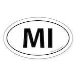 Michigan MI Auto Sticker -White (Oval)