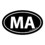 Massachusetts MA Auto Sticker -Black (Oval)