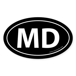 Maryland MD Auto Sticker -Black (Oval)