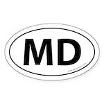 Maryland MD Auto Sticker -White (Oval)