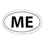Maine ME Auto Sticker -White (Oval)