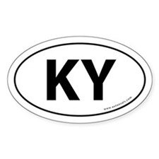 Kentucky KY Auto Sticker -White (Oval)