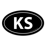 Kansas KS Auto Sticker -Black (Oval)