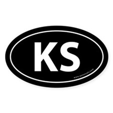 Kansas KS Auto Sticker -Black (Oval)