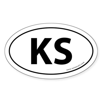 Kansas KS Auto Sticker -White (Oval)