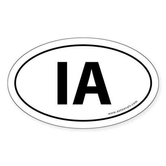 Iowa IA Auto Sticker -White (Oval)