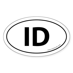 Idaho ID Auto Sticker -White (Oval)