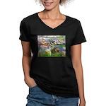 Lilies / Nor Elkhound Women's V-Neck Dark T-Shirt