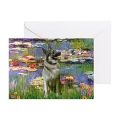 Lilies / Nor Elkhound Greeting Cards (Pk of 20)