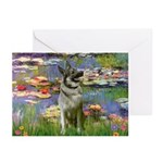 Lilies / Nor Elkhound Greeting Cards (Pk of 10)