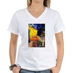 Cafe / Nor Elkhound Women's V-Neck T-Shirt