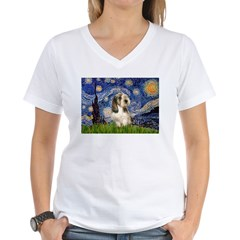 Starry Night / PBGV Women's V-Neck T-Shirt
