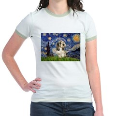 Starry Night / PBGV Jr. Ringer T-Shirt