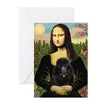Mona / Poodle (bl) Greeting Cards (Pk of 10)