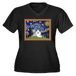Starry Night / Poodle(w) Women's Plus Size V-Neck