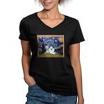 Starry Night / Poodle(w) Women's V-Neck Dark T-Shi