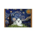 Starry Night / Poodle(w) Rectangle Magnet
