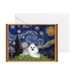 Starry Night / Poodle(w) Greeting Card