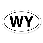 Wyoming WY Auto Sticker -White (Oval)