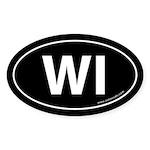 Wisconsin WI Auto Sticker -Black (Oval)