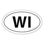 Wisconsin WI Auto Sticker -White (Oval)
