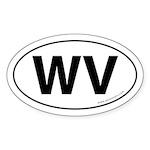 West Virginia WV Auto Sticker -White (Oval)