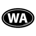 Washington WA Auto Sticker -Black (Oval)