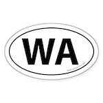 Washington WA Auto Sticker -White (Oval)