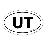 Utah UT Auto Sticker -White (Oval)