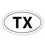 Texas TX Auto Sticker -White (Oval)
